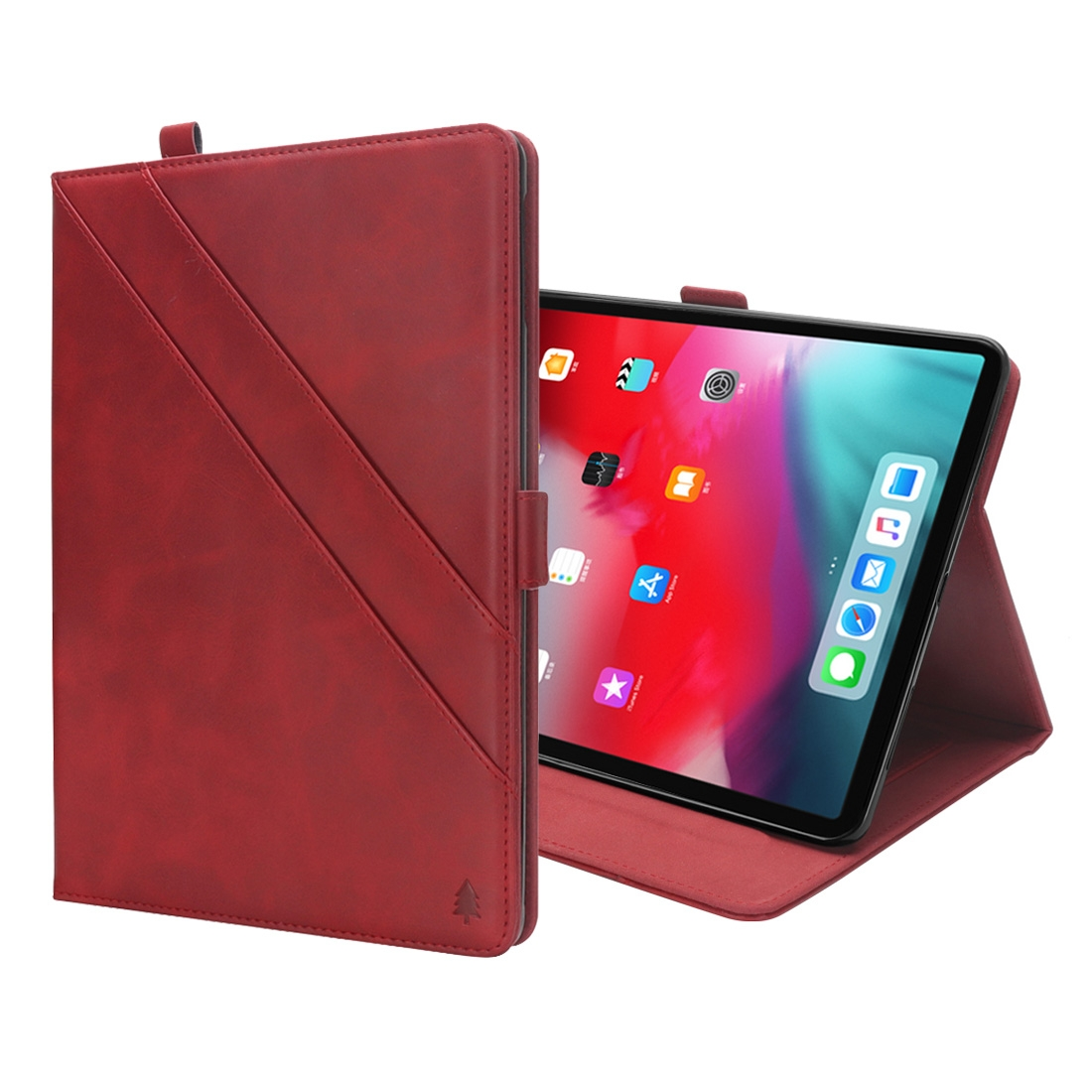 Bi-Stand Leather iPad Pro 11 Case (2018), w/Sleeves & Frame (Red)