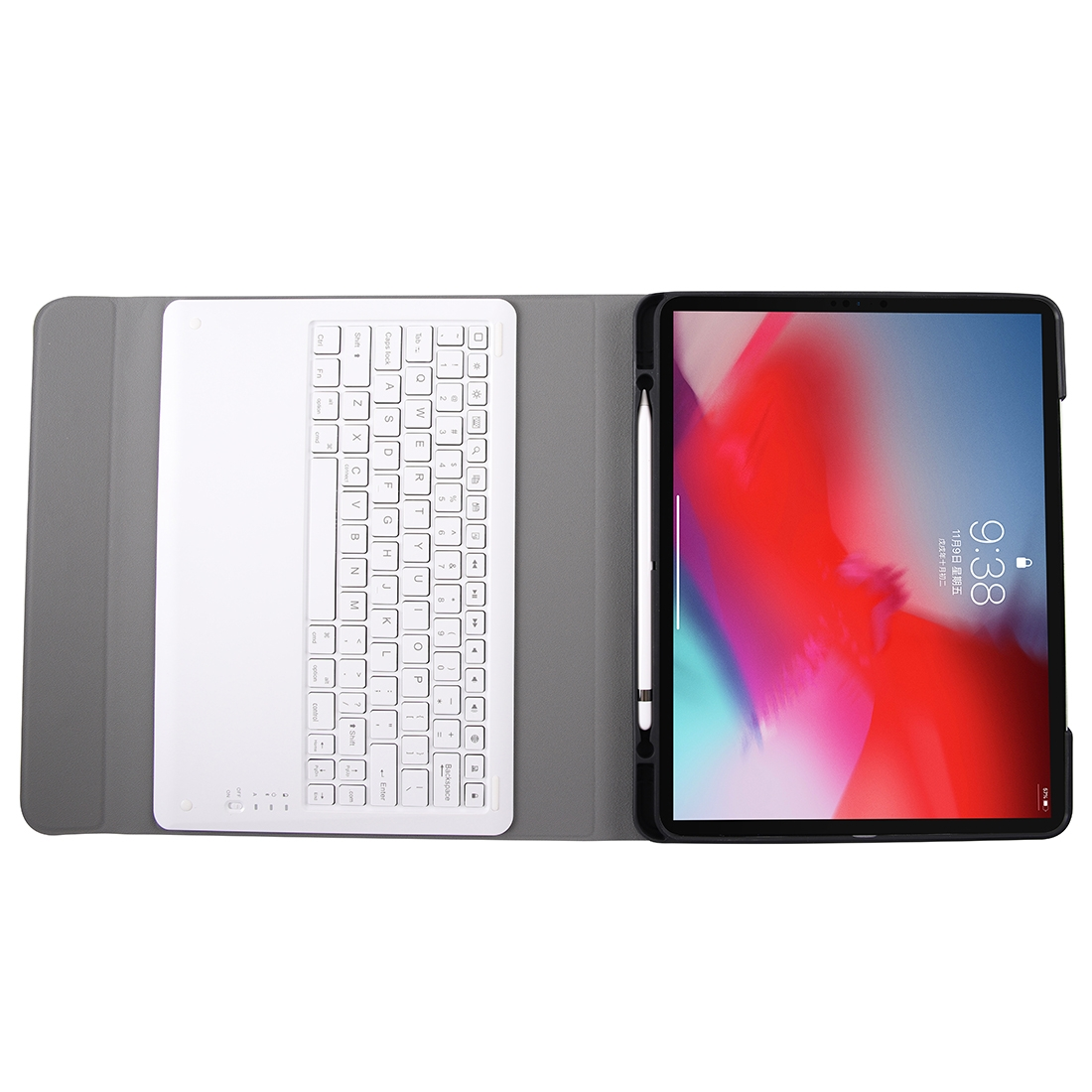 iPad Pro 12.9 Case With Keyboard (2018), Leather Case With Detachable Bluetooth Keyboard (Gold)
