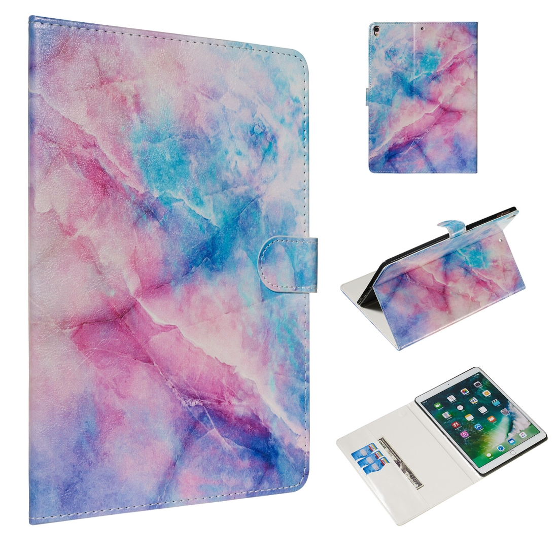 For iPad Air 10.5 (2019)/ iPad Pro 10.5 (2017) Leather Case with Sleeves (Pink Blue Marble)