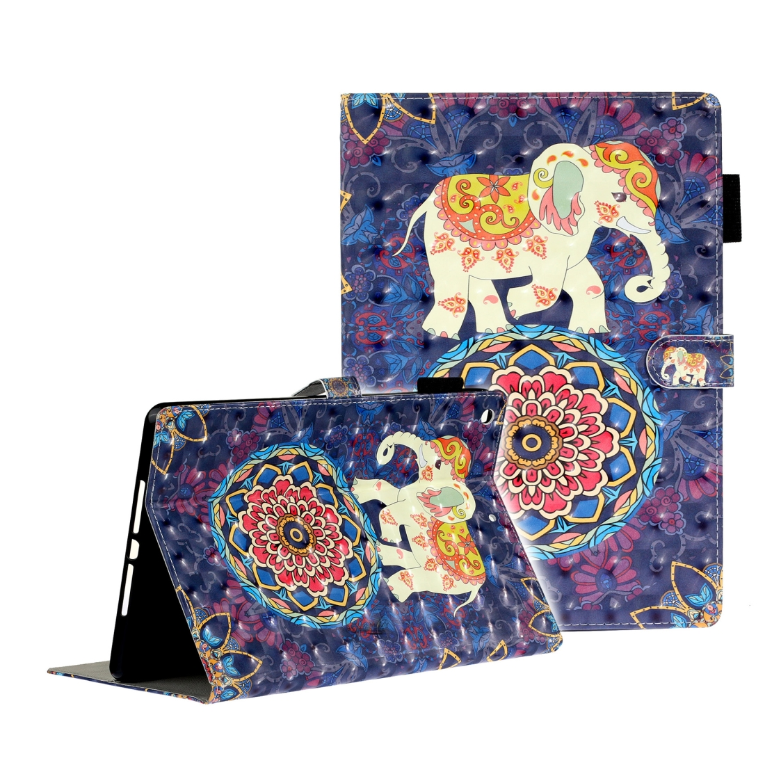 iPad 7th Generation Case (10.2 Inch) 3D Embossing Leather Case & Slim Profile (Elephant)