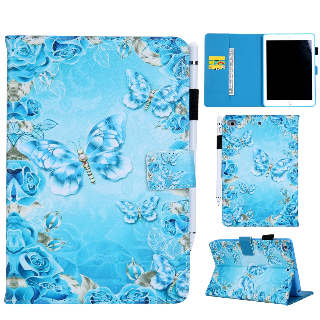 Butterfly Design Leather iPad Mini 4 Case, Also Fits iPad Mini 1,2,3, with Sleeve & Slim Profile