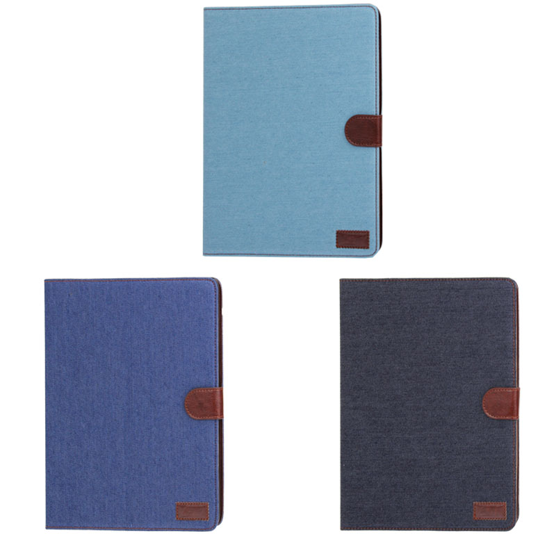 iPad 2 Case Fits iPad  2, 3, 4, Denim Textured Leather Case With Sleeves & Holder (Black)