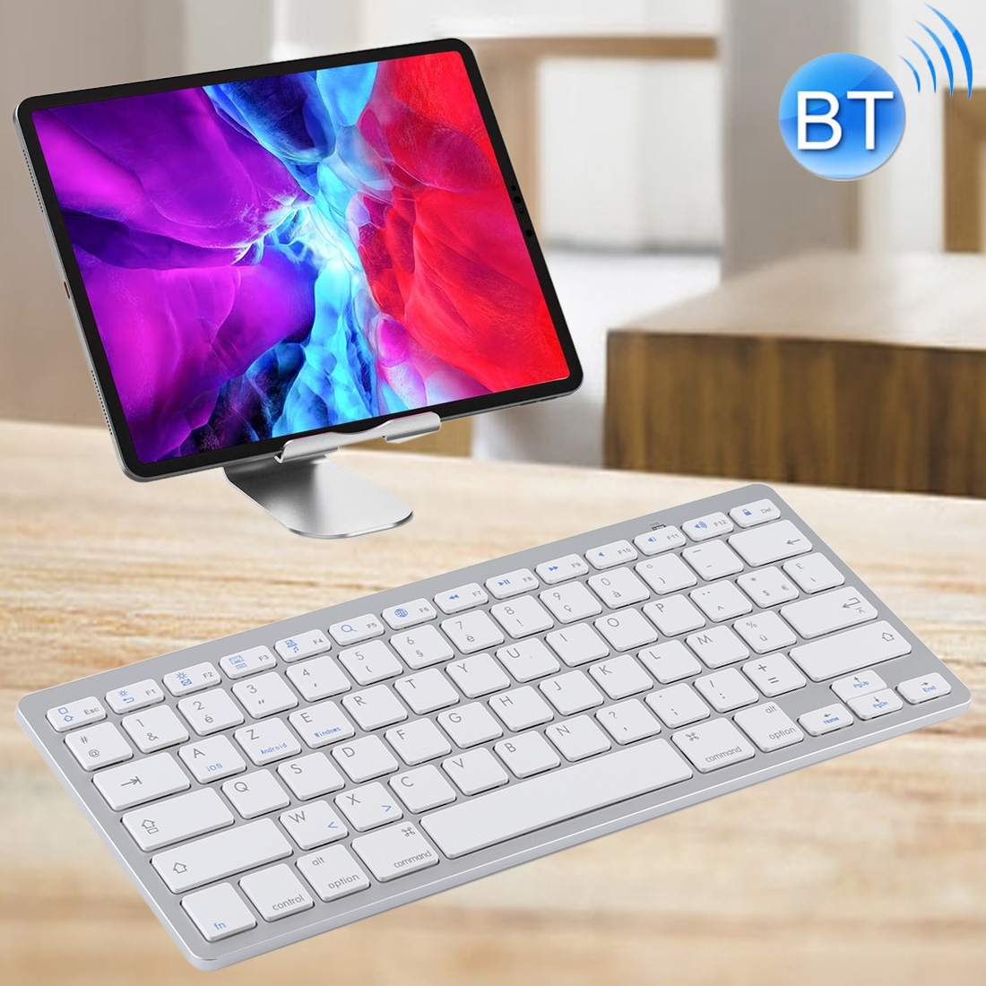 Wireless Keyboard For iPad, Samsung, Tablets, Smart Phones & Computers: French Keys (Silver)