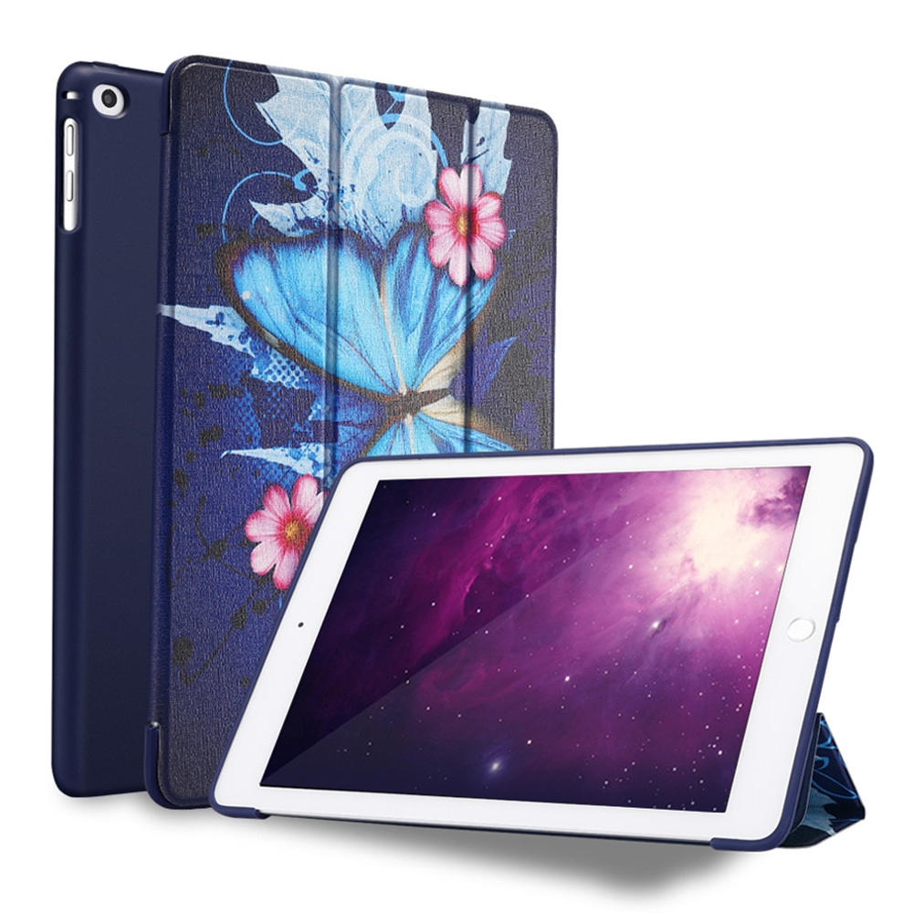 Butterflies Leather iPad 9.7 Case (2017) (2018), Air/ Air2, Tri-Fold Honeycomb Durable Cover