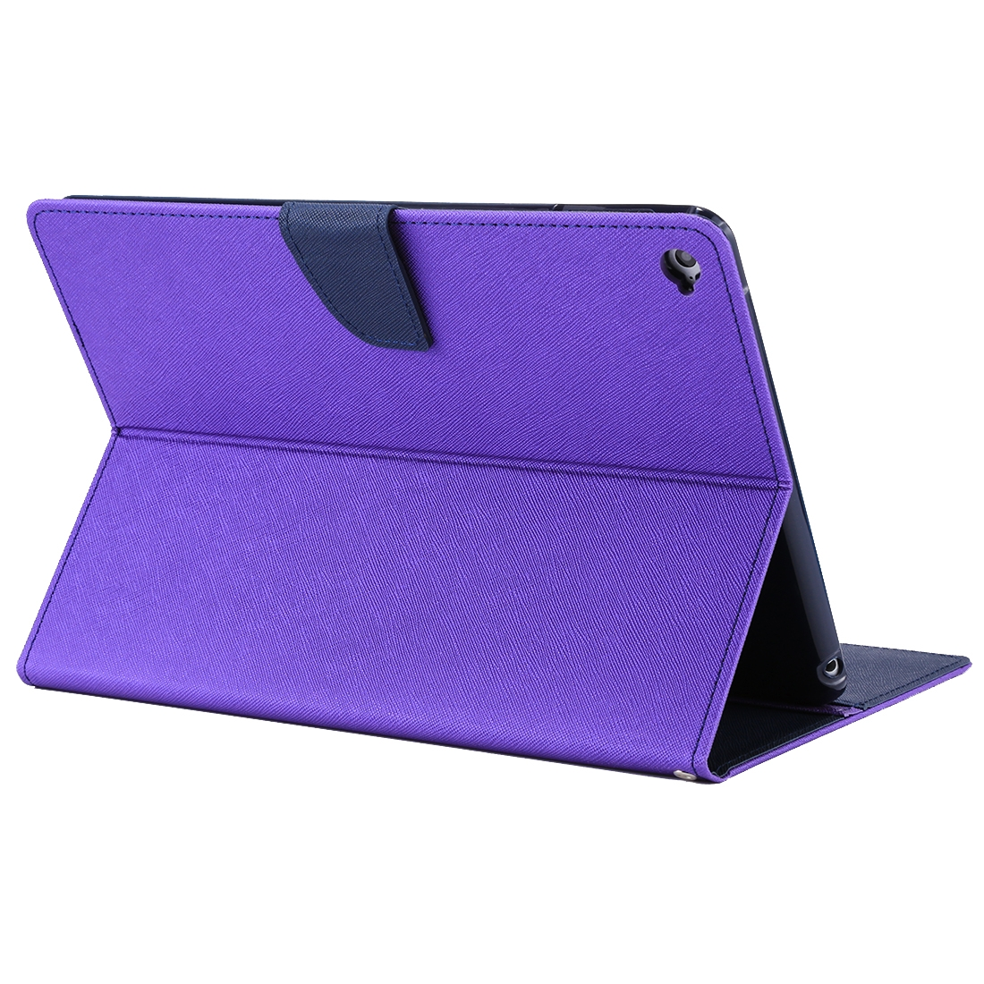 iPad Air 2 Case Cross Texture Leather Case with Sleeve, Holder  (Purple)