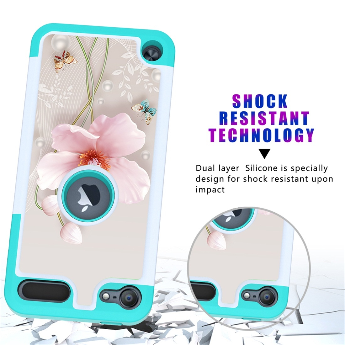 Colorful  Design PC/Protective Durable Casing for iPod touch 5/ 6/ 7 (2019) (Pearl Flower)