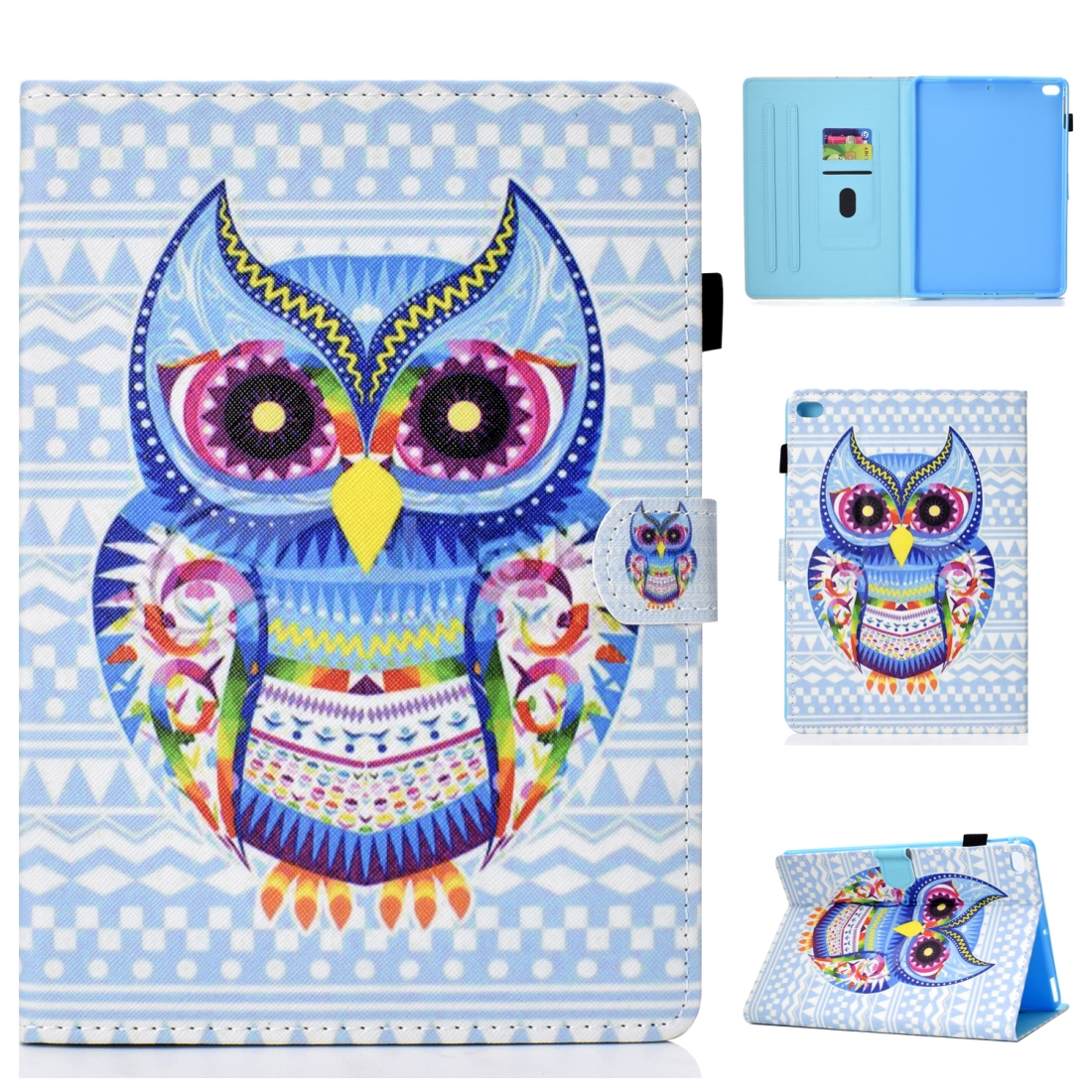 Case For iPad 5/ 6/ 8 Artistic Stitching Leather Case, with Sleeves (Artistic Owl)