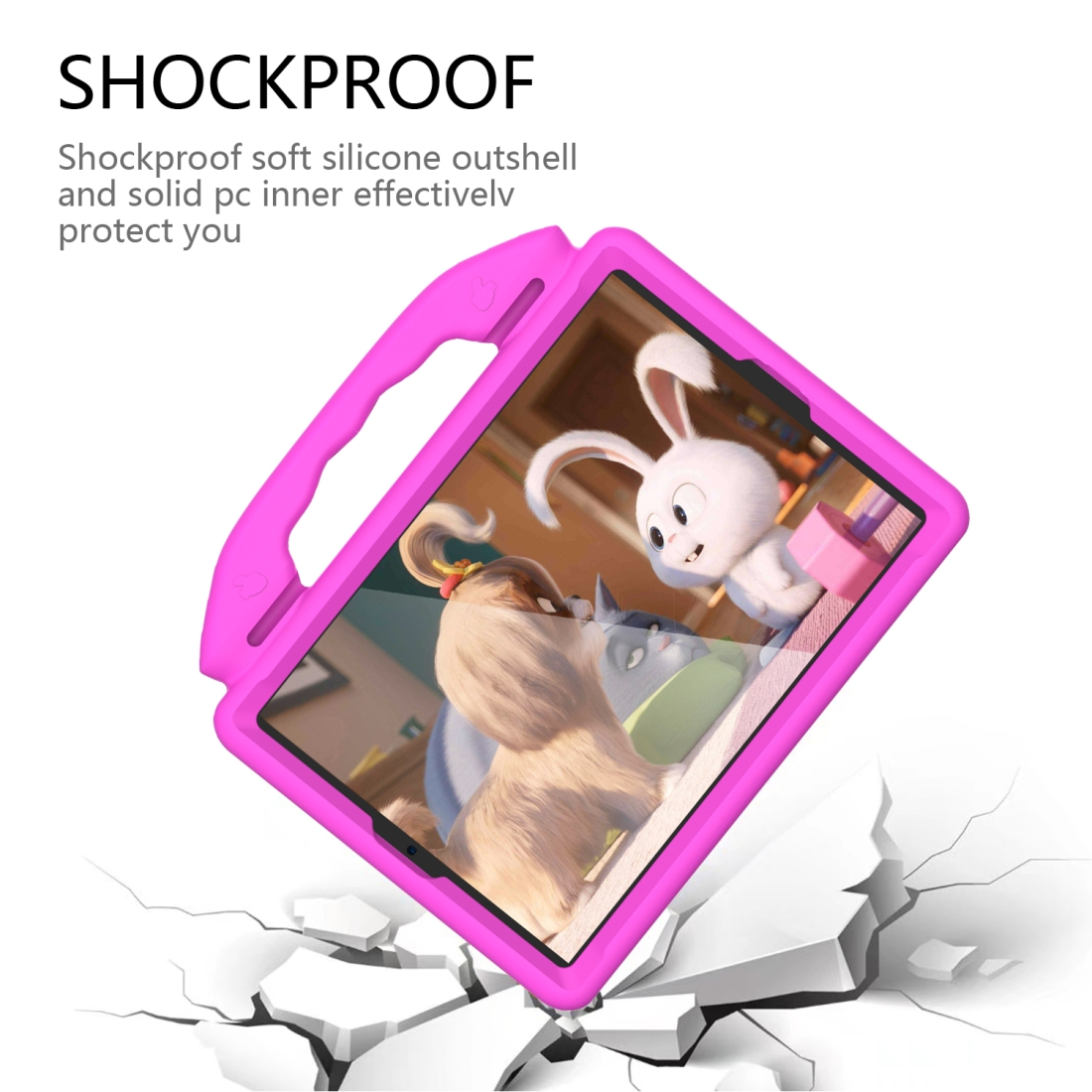 iPad 7th Generation Case (10.2 Inch)  Durable Protective Case & Bracket (Rose Pink)