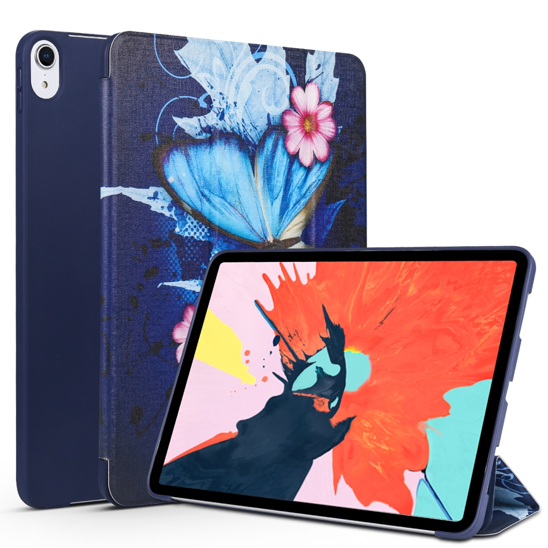 Blue Butterfly Painted Leather iPad Pro 11 Case (2018), with Tri-Fold Wake/ Auto Sleep