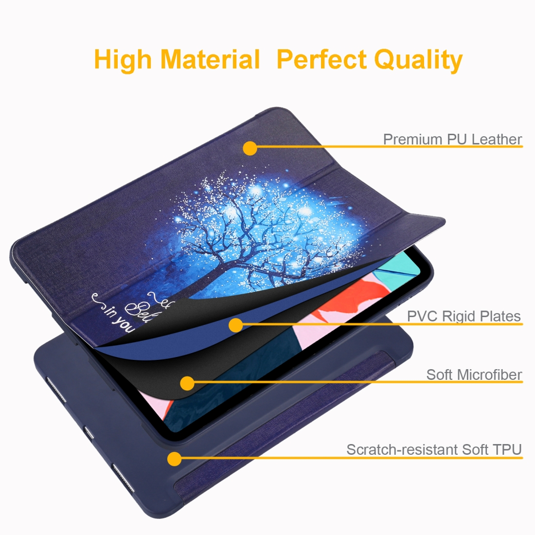 Blue Tree Painted Leather iPad Pro 11 Case (2018), with Tri-Fold Wake/ Auto Sleep