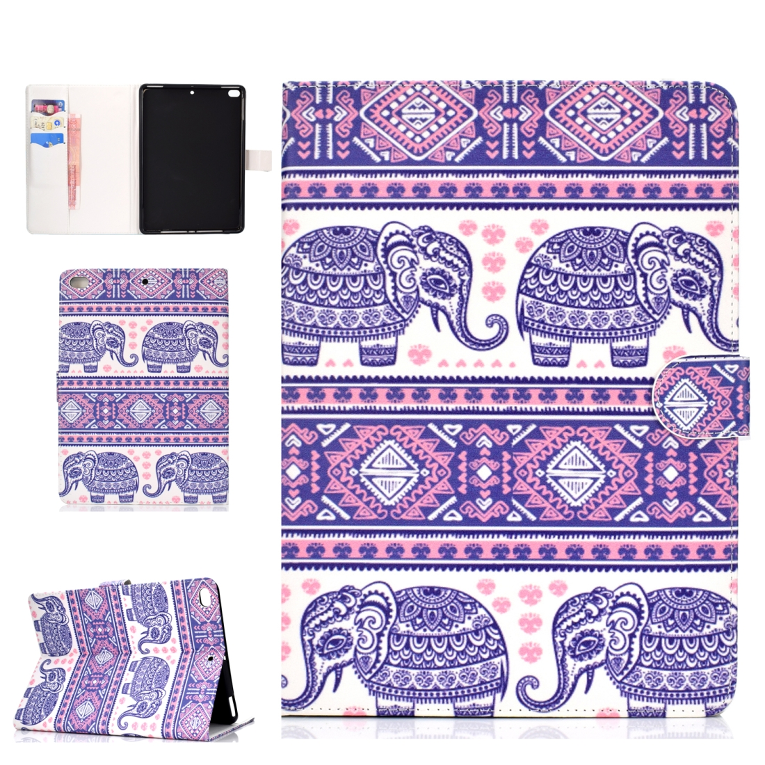 iPad 5th Generation Case Fits iPad 5,6,8, Stylish Leather Design & Auto Sleep Function (Elephant)