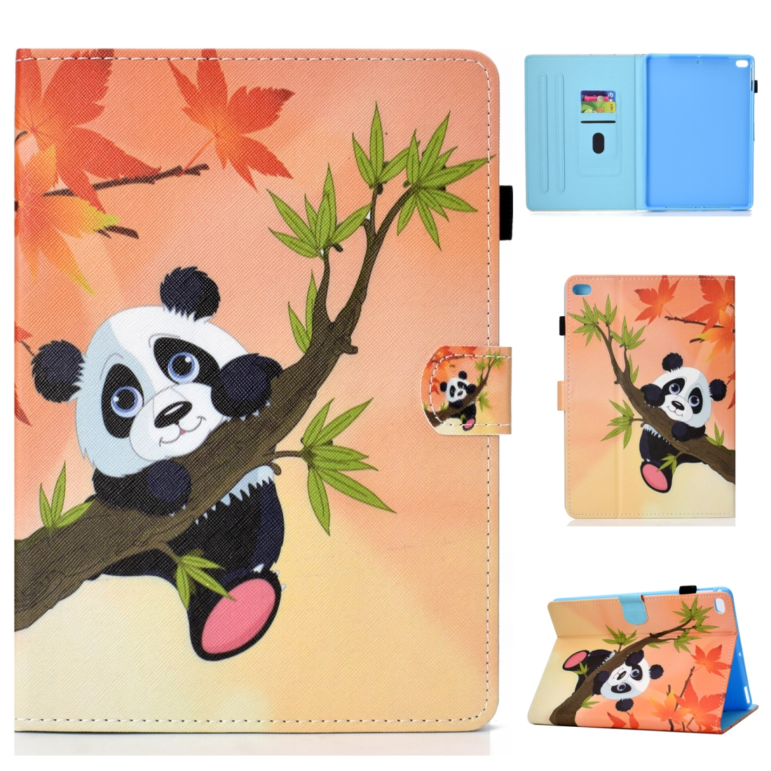 Case For iPad 5/ 6/ 8 Artistic Stitching Leather Case, with Sleeves (Panda)