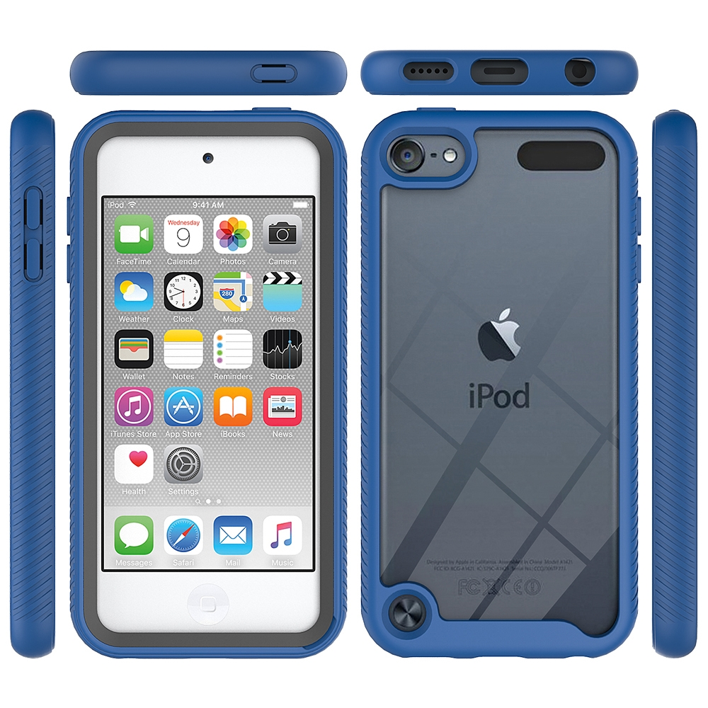 For iPod Touch 5/ 6/ 7 Two-layer Design Shockproof PC/Protective Durable Casing (Light Blue)