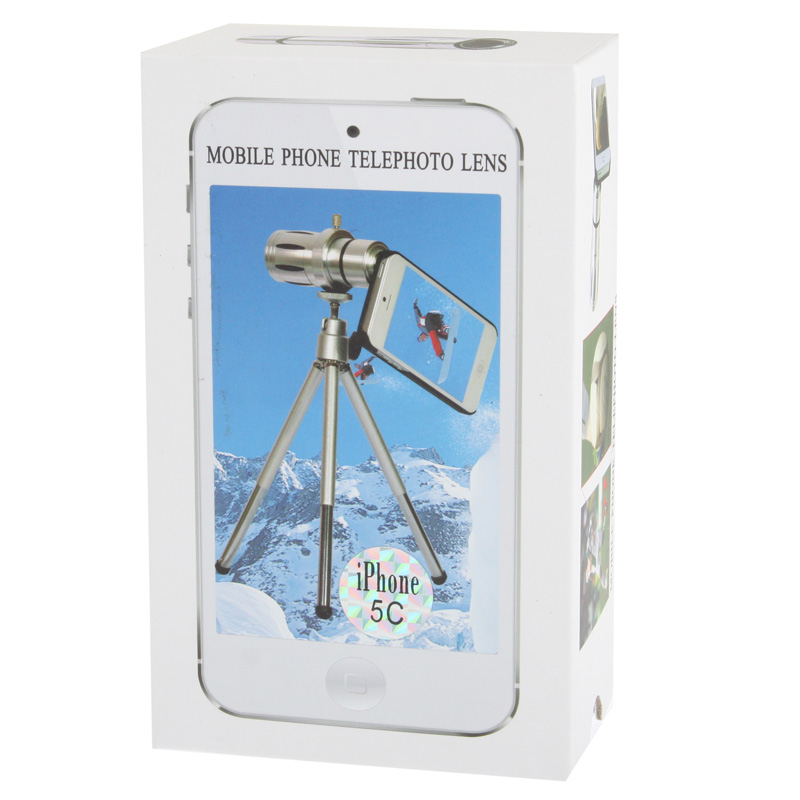 12X Optical Zoom Telescope Lens with Plastic Case & Tripod for iPhone 5C (Min. Focus Distance: 3m)