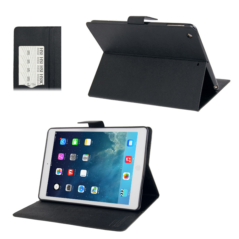 Goospery Diary iPad Air Case Cross Texture Leather Case with Sleeve & Holder & Wallet (Black)