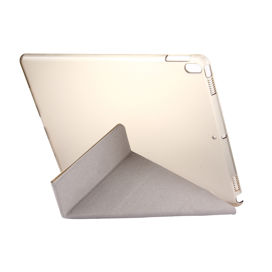 Silk Textured Leather iPad Air 3 Case (10.5 Inch) with Quad-Fold Holder, Auto Sleep (Champagne Gold)