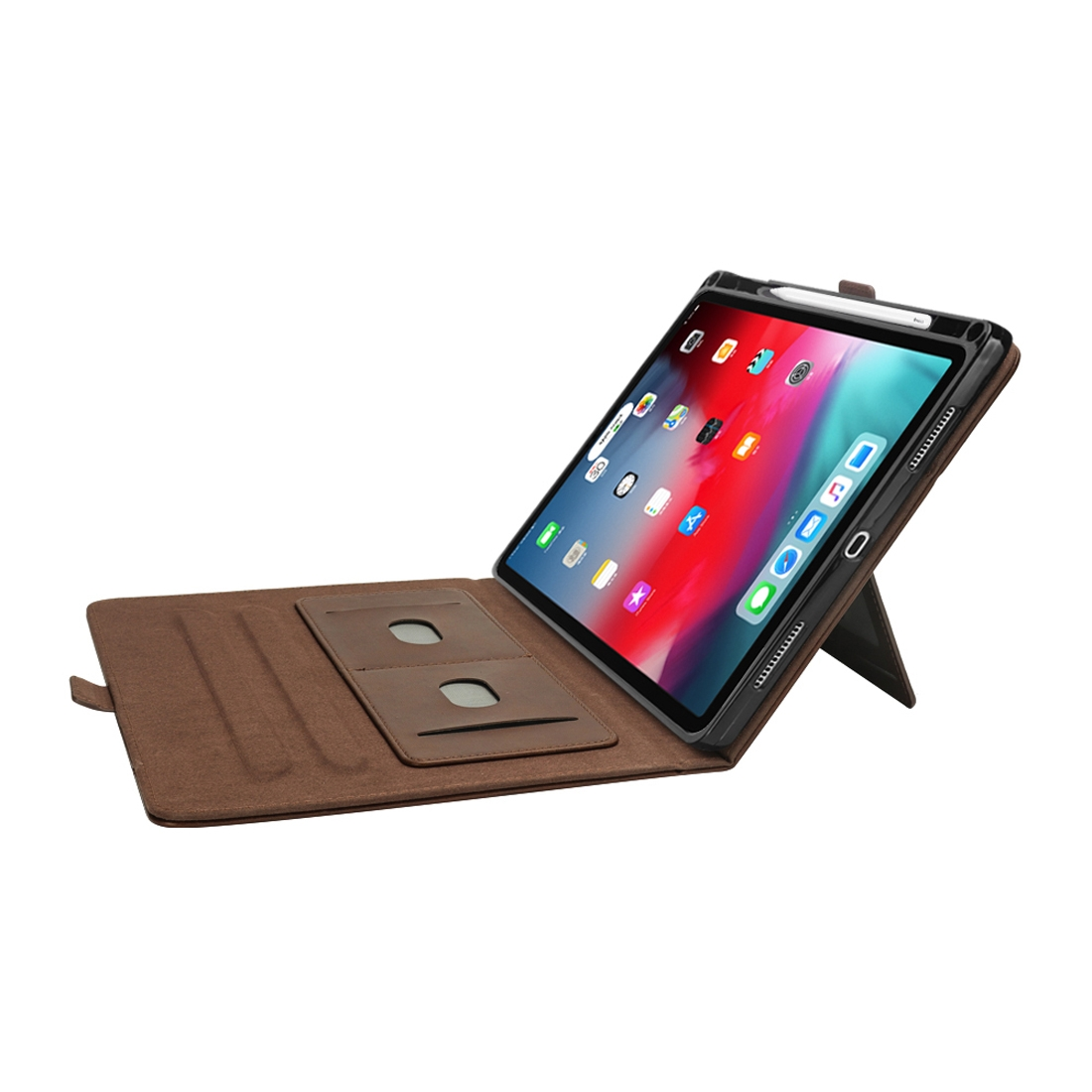 Bi-Stand Leather iPad Pro 11 Case (2018), w/Sleeves, Frame, Pen Holder (Dark Brown)