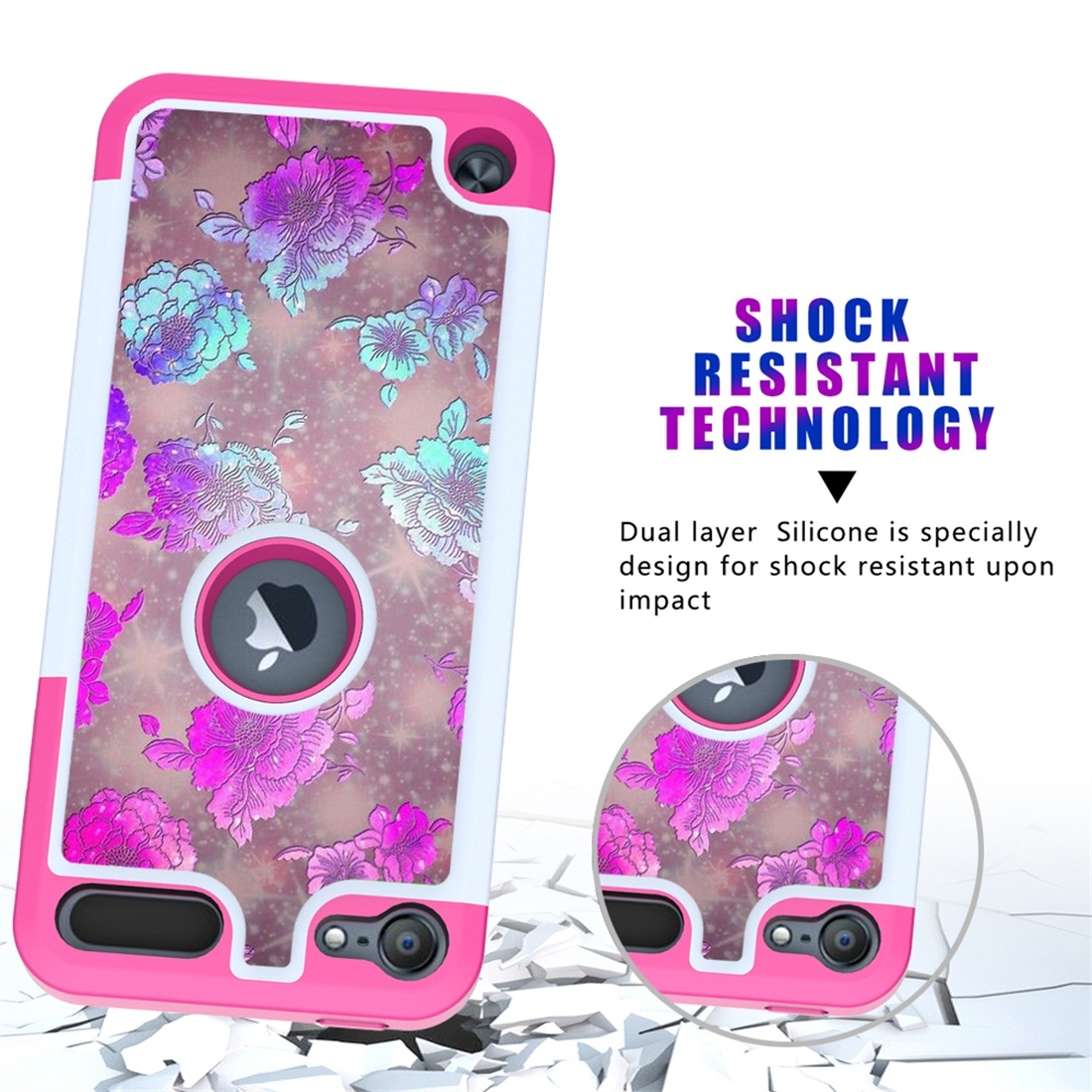 Colorful  Design PC/Protective Durable Casing for iPod touch 5/ 6/ 7 (2019) (Peony)
