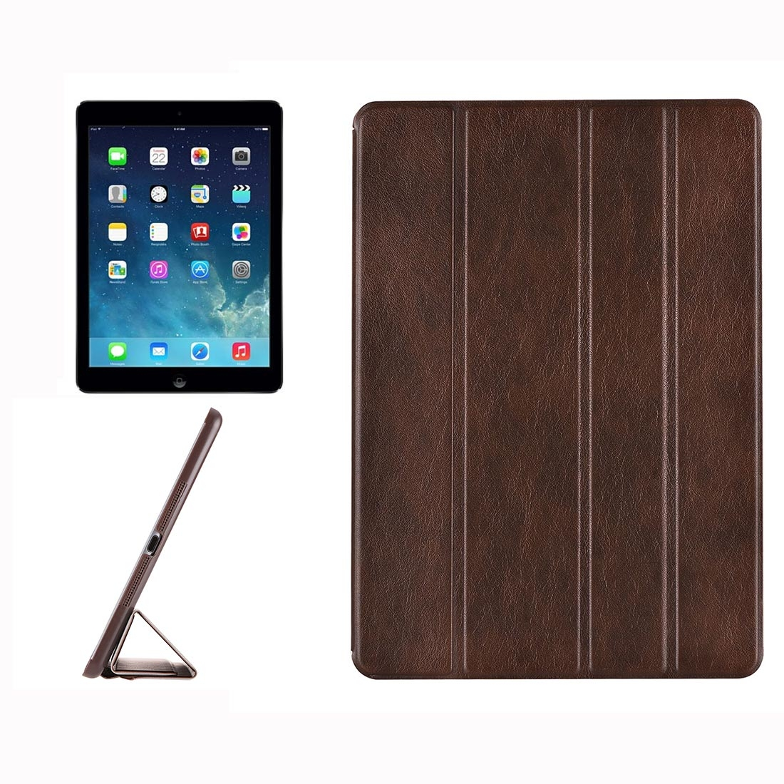 Genuine Leather iPad Air Case, iPad 5, Hide Textured Design Style with Quad-Fold Holder (Brown)