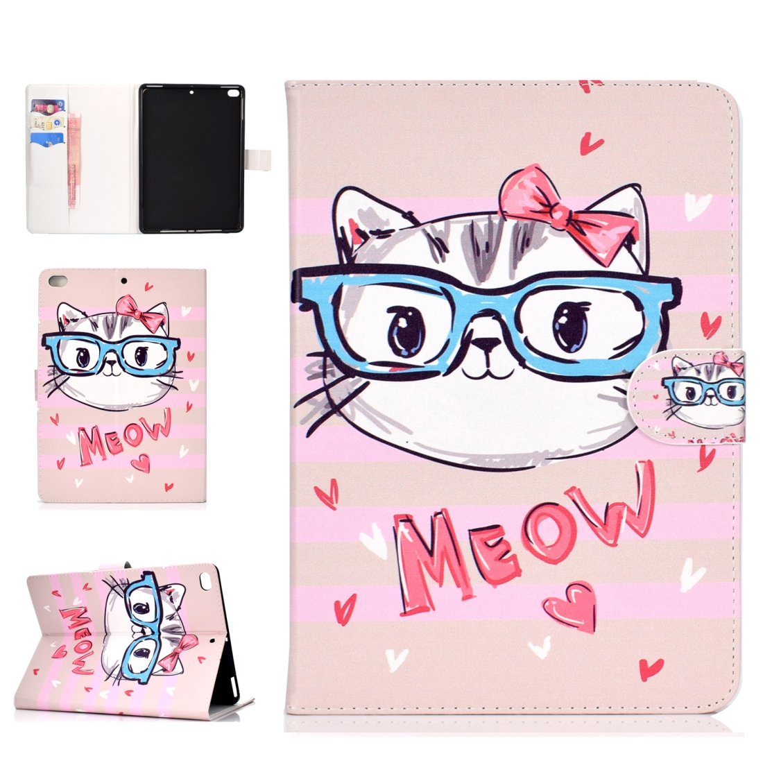 iPad 5th Generation Case Fits iPad 5,6,8, Stylish Leather Design & Auto Sleep Function (Glasses/Cat)
