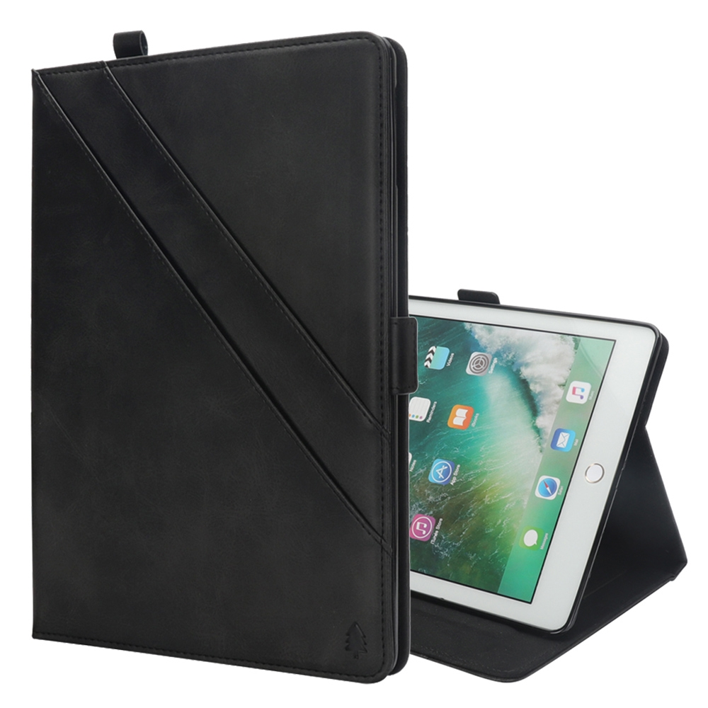 Bi-Stand Leather iPad Pro 12.9 Inch Case (2017)/ (2015) with Sleeves & Pen Holders (Black)