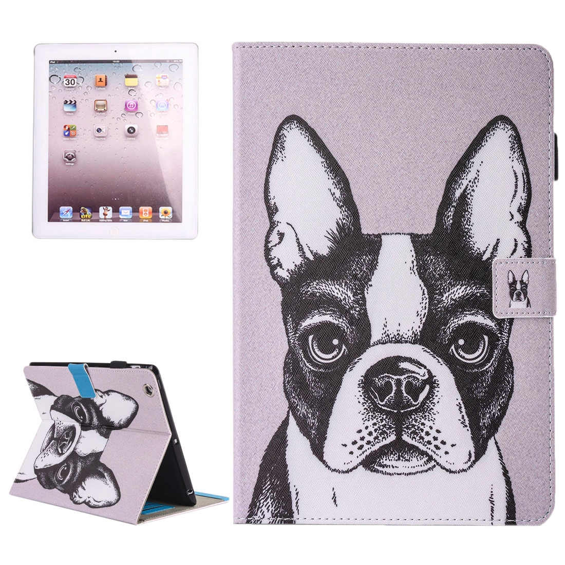 iPad 2 Case Fits iPad  2, 3, 4, Painted Bulldog Leather Case with Stand, Sleeves & Pen Holder