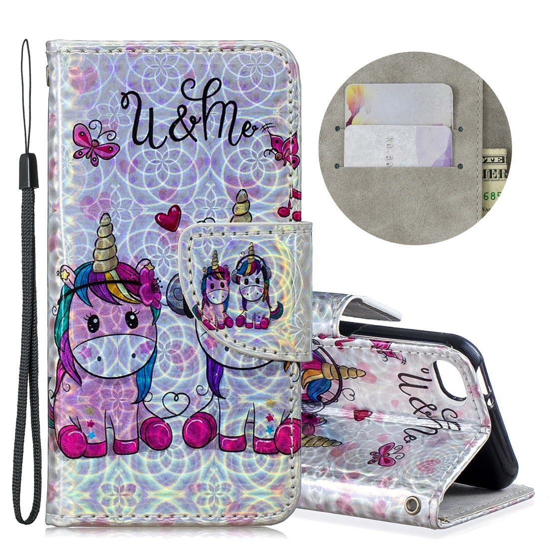 Dazzle Colorful Design Leather Case w/ Slim Profile & Lanyard For iPod Touch 5/6 (Two Unicorns)