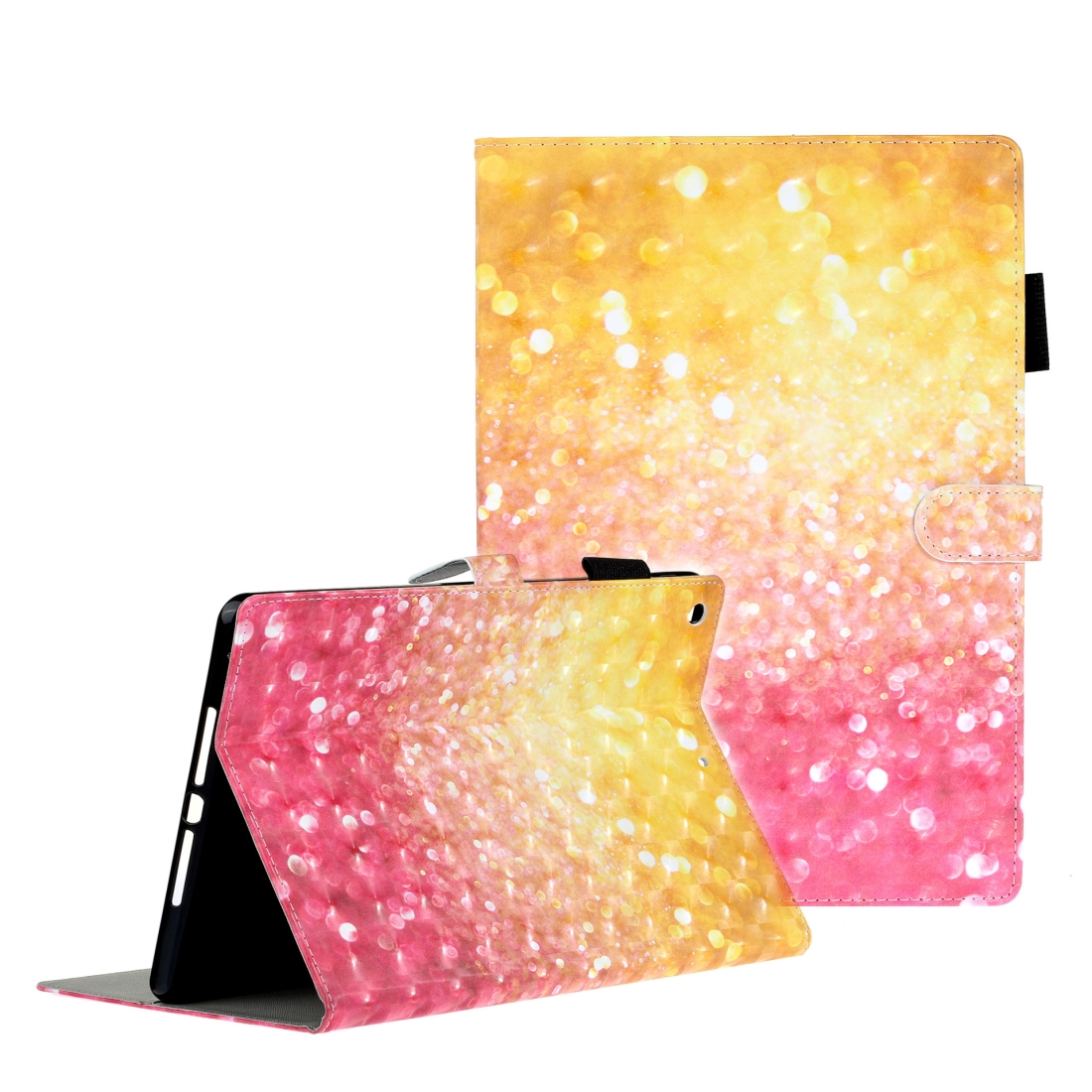 iPad 7th Generation Case (10.2 Inch) 3D Embossing Leather Case & Slim Profile (Sand)