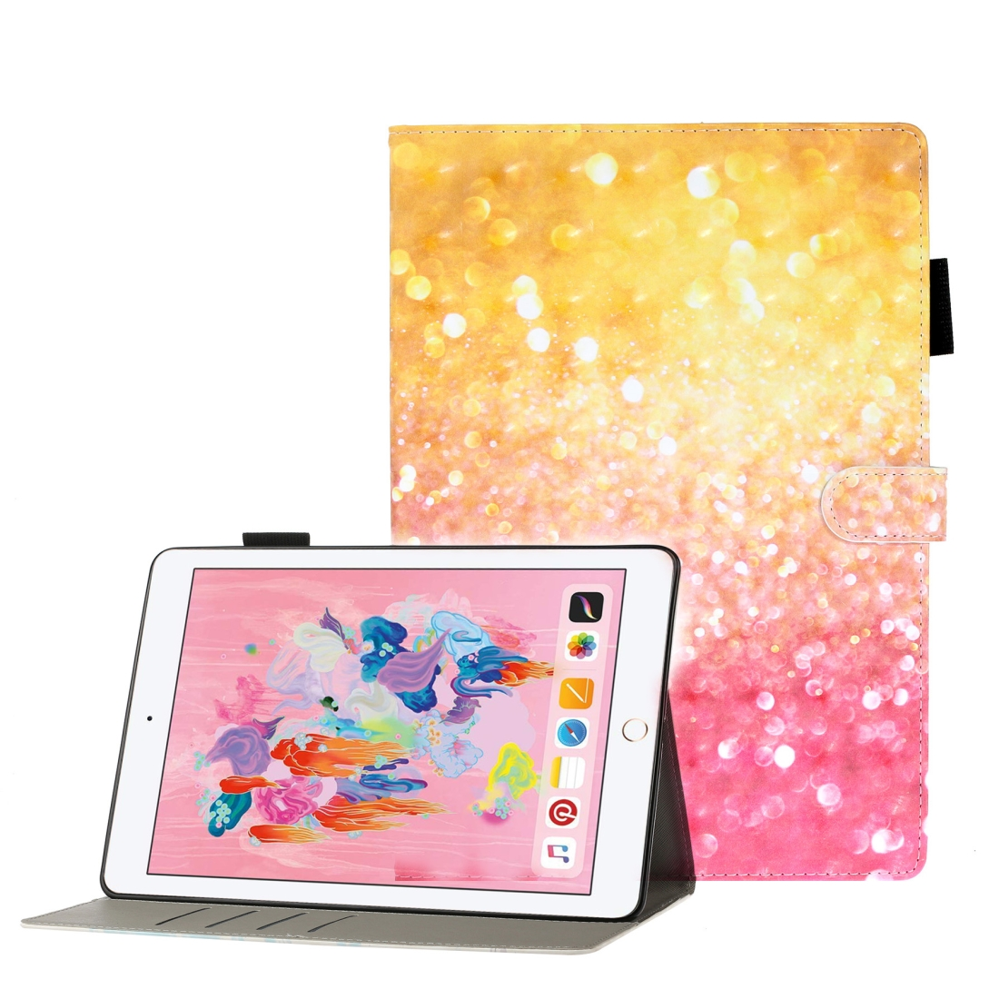 Case For iPad 5/ 6/ 7/ 8/ 9 3D Embossing Leather Case & Slim Profile (Sand)