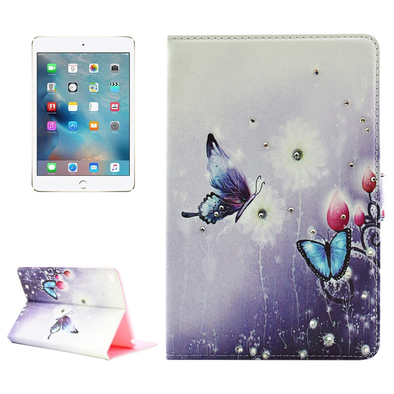 Butterfly and Flower Pattern Diamond Encrusted Leather iPad Mini 4 Case