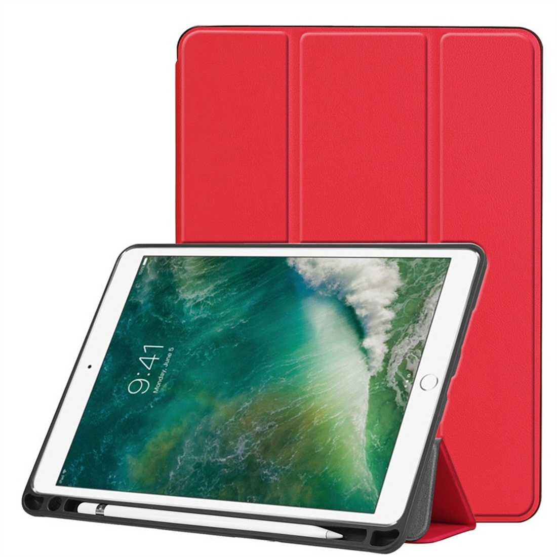 Custer Texture Leather iPad Air 3 Case (10.5 Inch)/ iPad Air (2019), with Pen Holder (Red)
