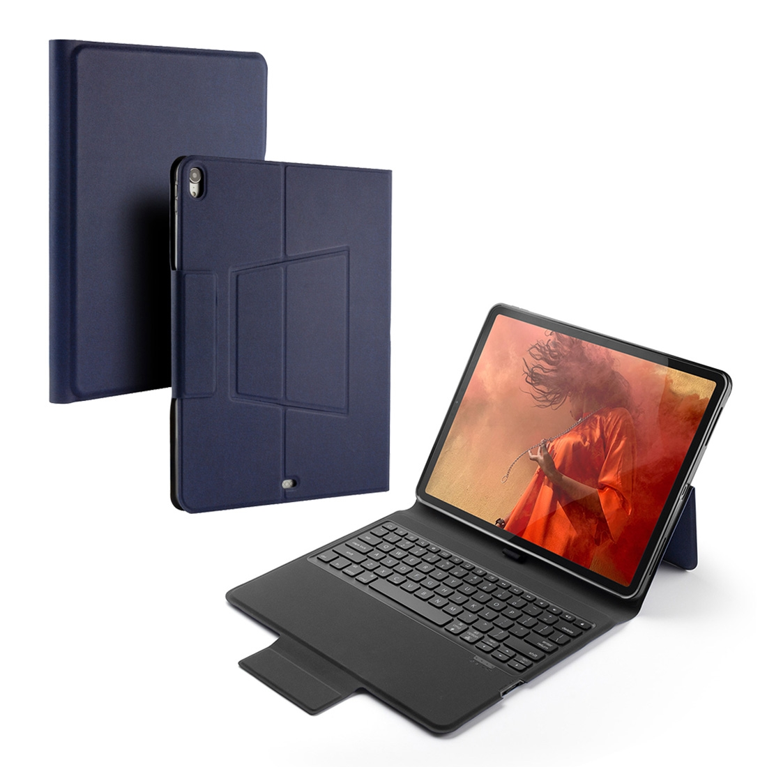 iPad Pro 12.9 Case With Keyboard & Backlite With Leather Flip Case for iPad Pro 12.9 (2018) (Blue)