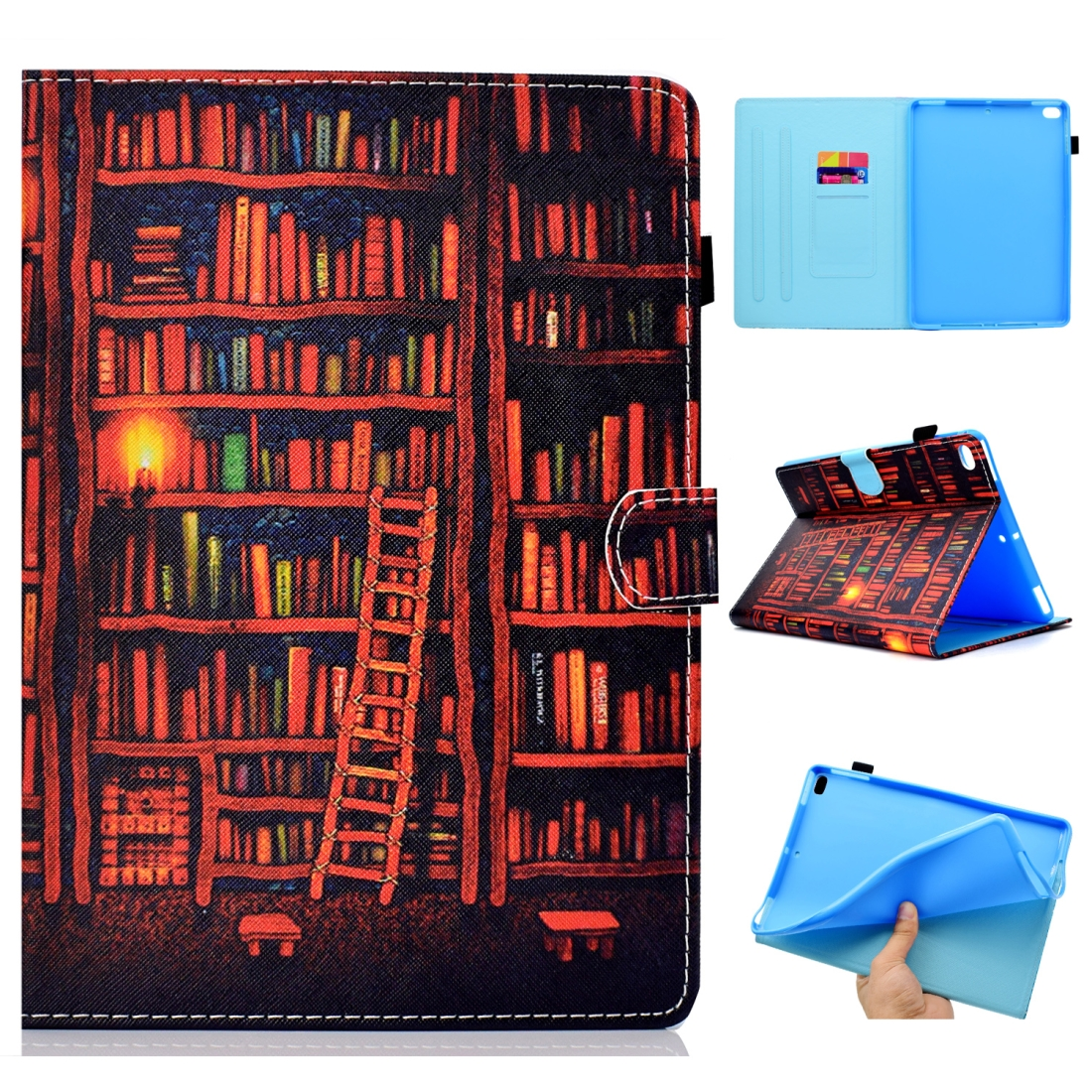 Case For iPad 5/ 6 Artistic Stitching Leather Case, with Sleeves & Auto Sleep function (Bookshelf)