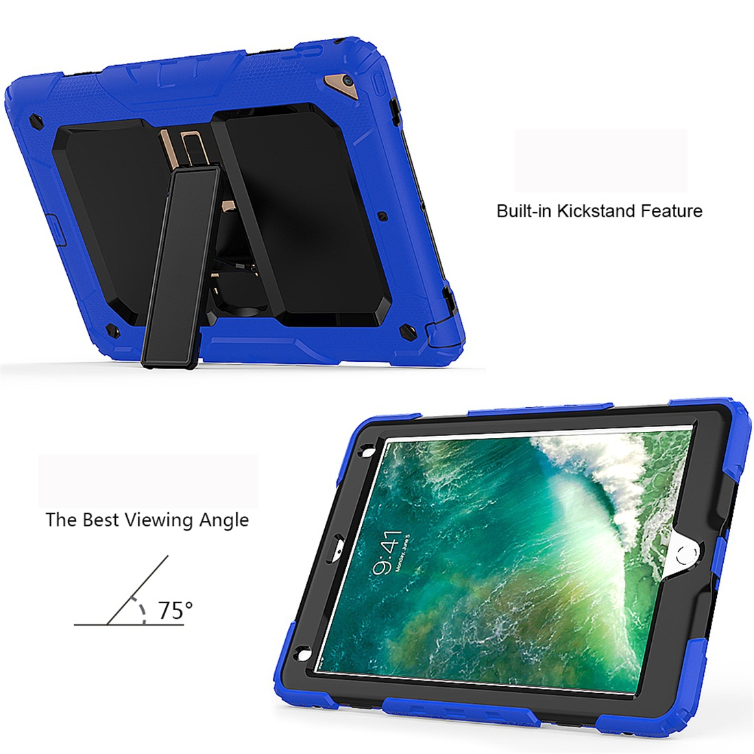 Shockproof Protective And Durable iPad 9.7 Case (2018), with Shoulder Strap (Blue)