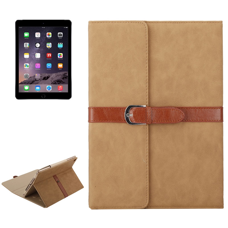 Business Style Leather iPad Air Case 1/2, iPad 5/6, With Tri-Fold Holder & Buckle (light brown)