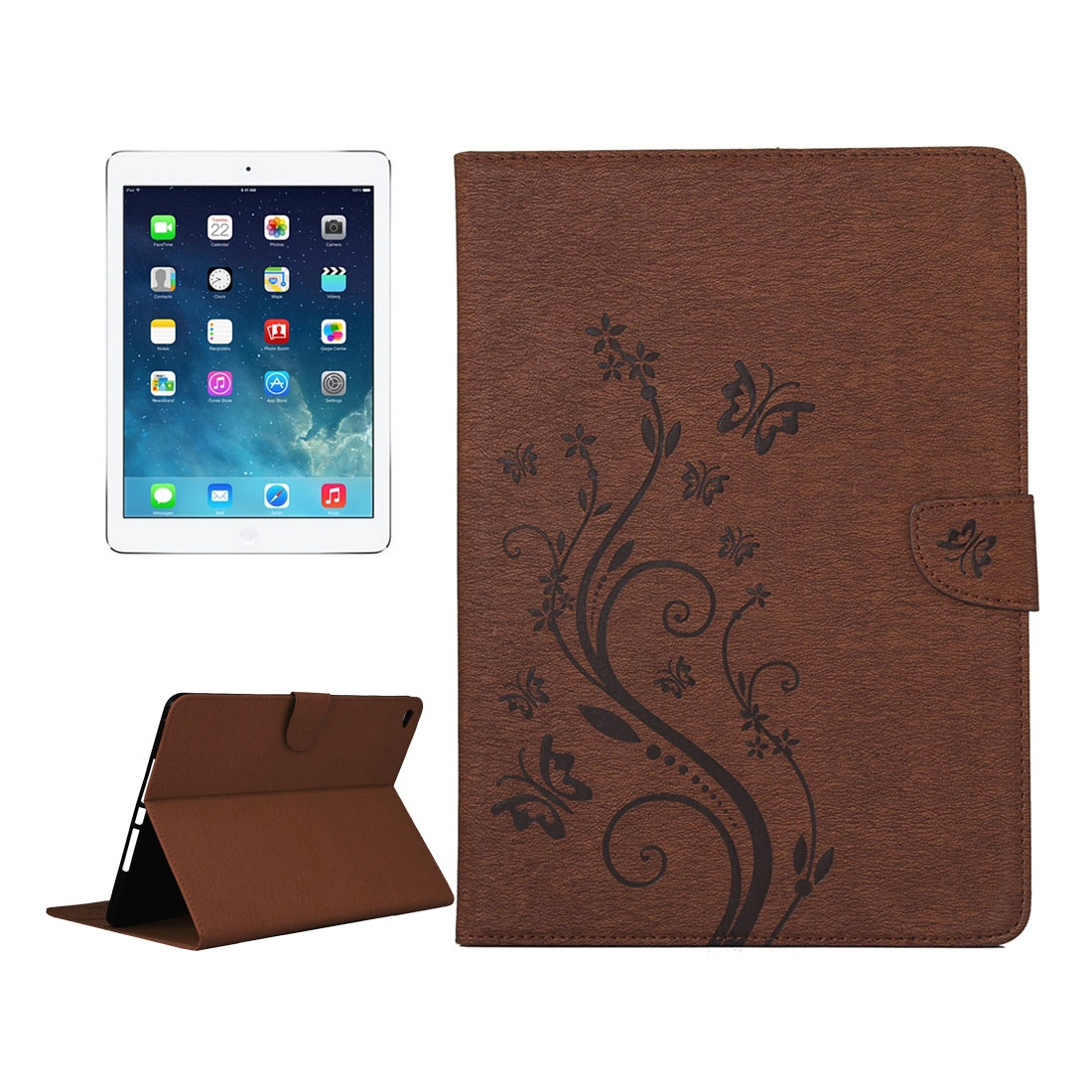 iPad Air 2 Case Floral Butterfly Leather Case w/ Magnetic Buckle, Slim Profile (Brown)