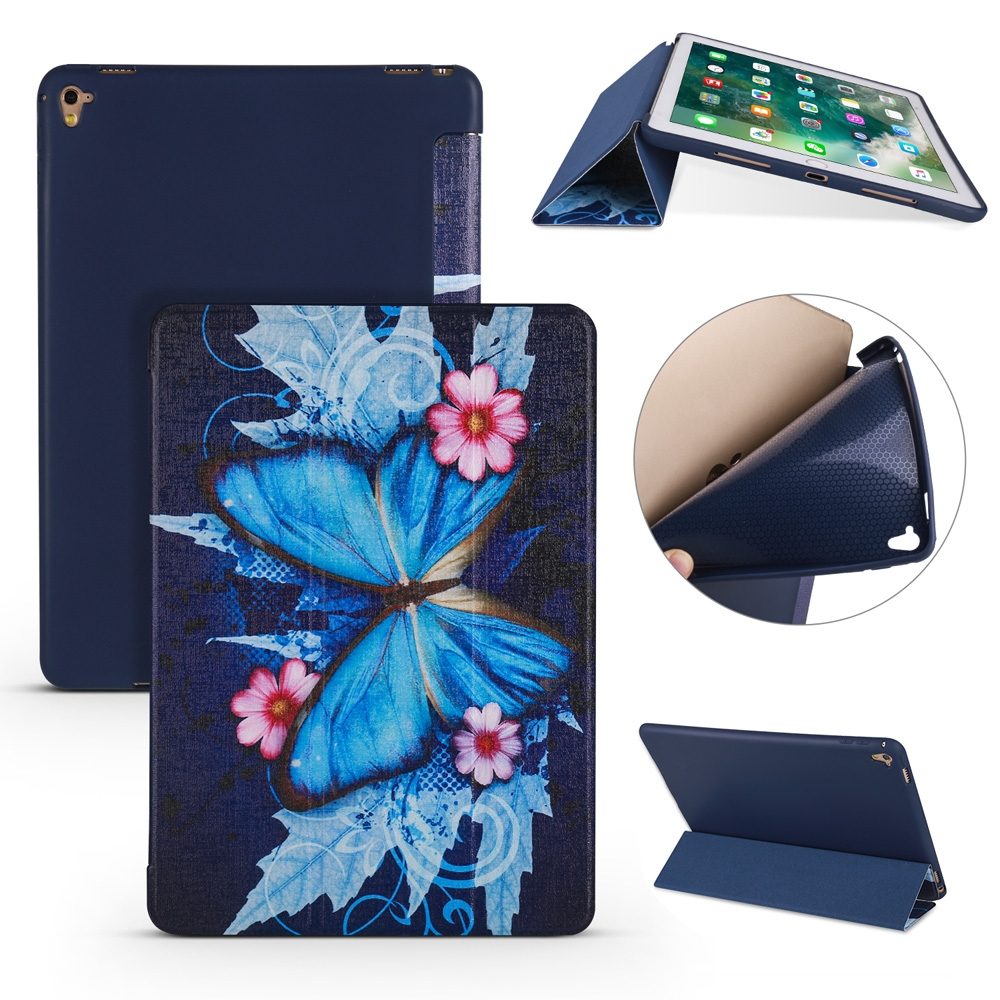 Butterflies Leather iPad Air 2 Cover (9.7 Inch), with Tri-Fold Honeycomb Durable Cover