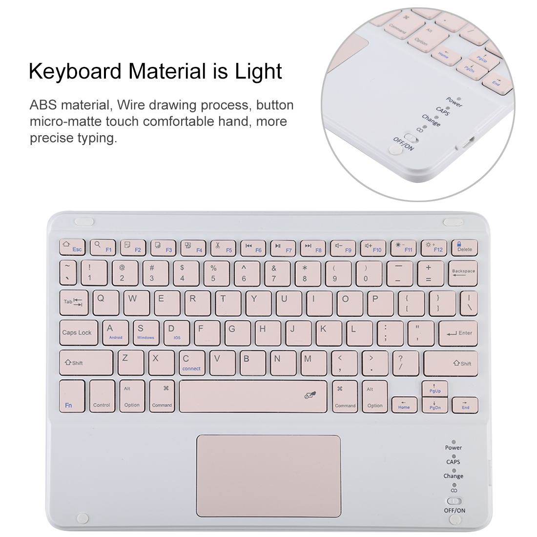 iPad Air Case With Keyboard For iPad 10.2/Air (2019), Leather Case With Touchpad & Bluetooth (Pink)
