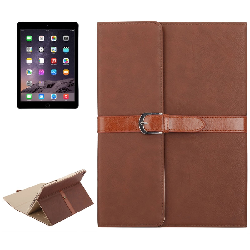 Business Style Leather iPad Air Case 1/2, iPad 5/6, With Tri-Fold Holder & Buckle (Brown)