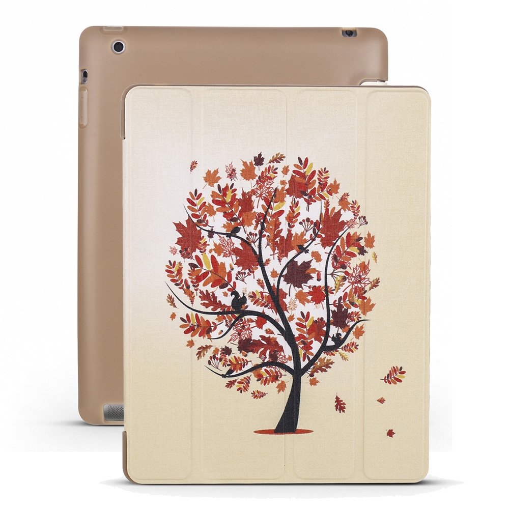 iPad 2 Case Fits iPad 2, 3, 4, Maple Leather Case With Tri-Fold Honeycomb Durable Cover
