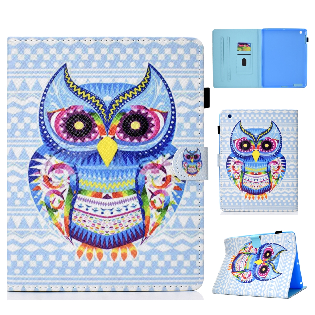 iPad 2 Case Fits iPad 2, 3, With Artistic Stitched Leather Case With Sleeves (Artistic Owl)