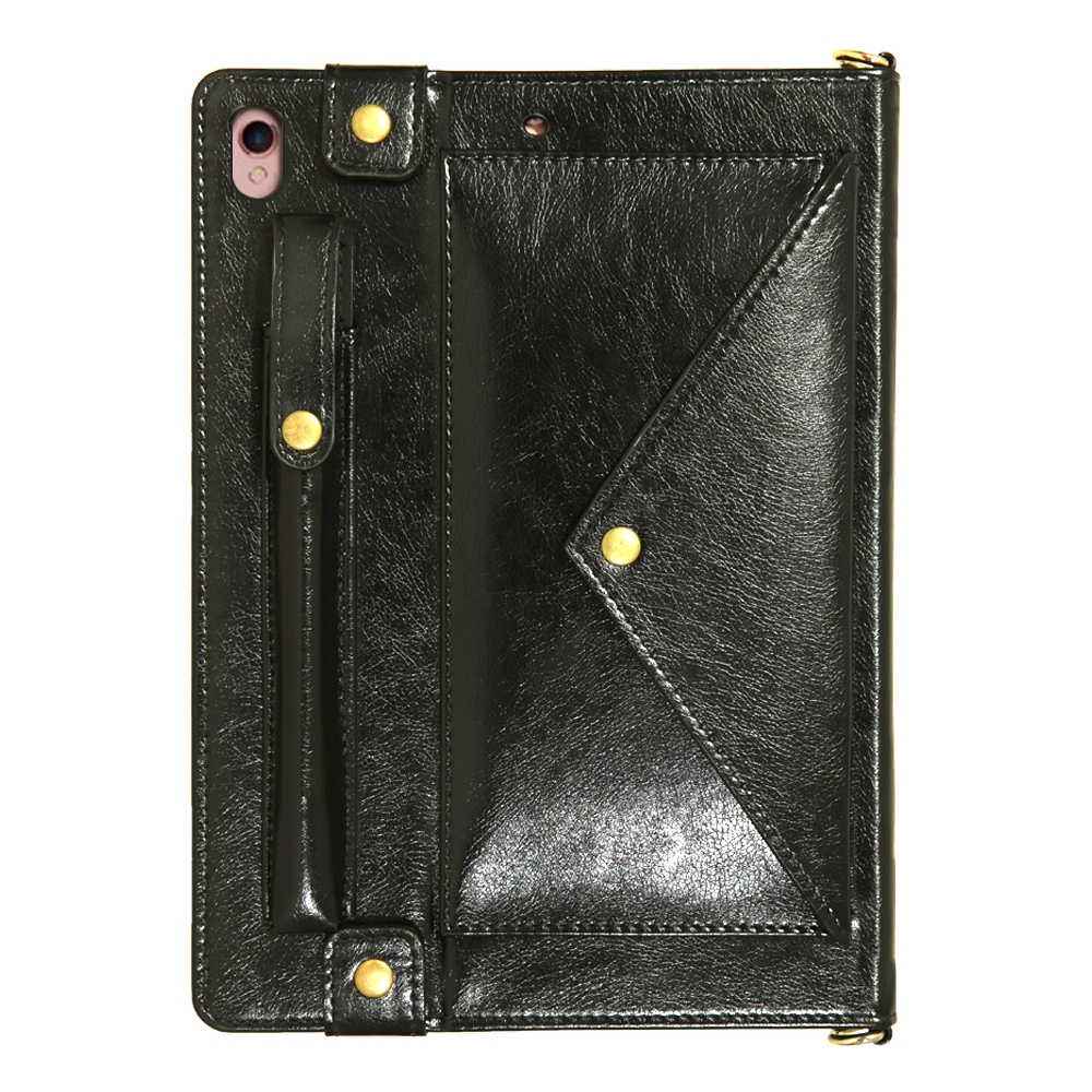 Leather iPad Air 3 Case (10.5 Inch) With Sleeves, Pen Holders, Frame & Shoulder (Black)