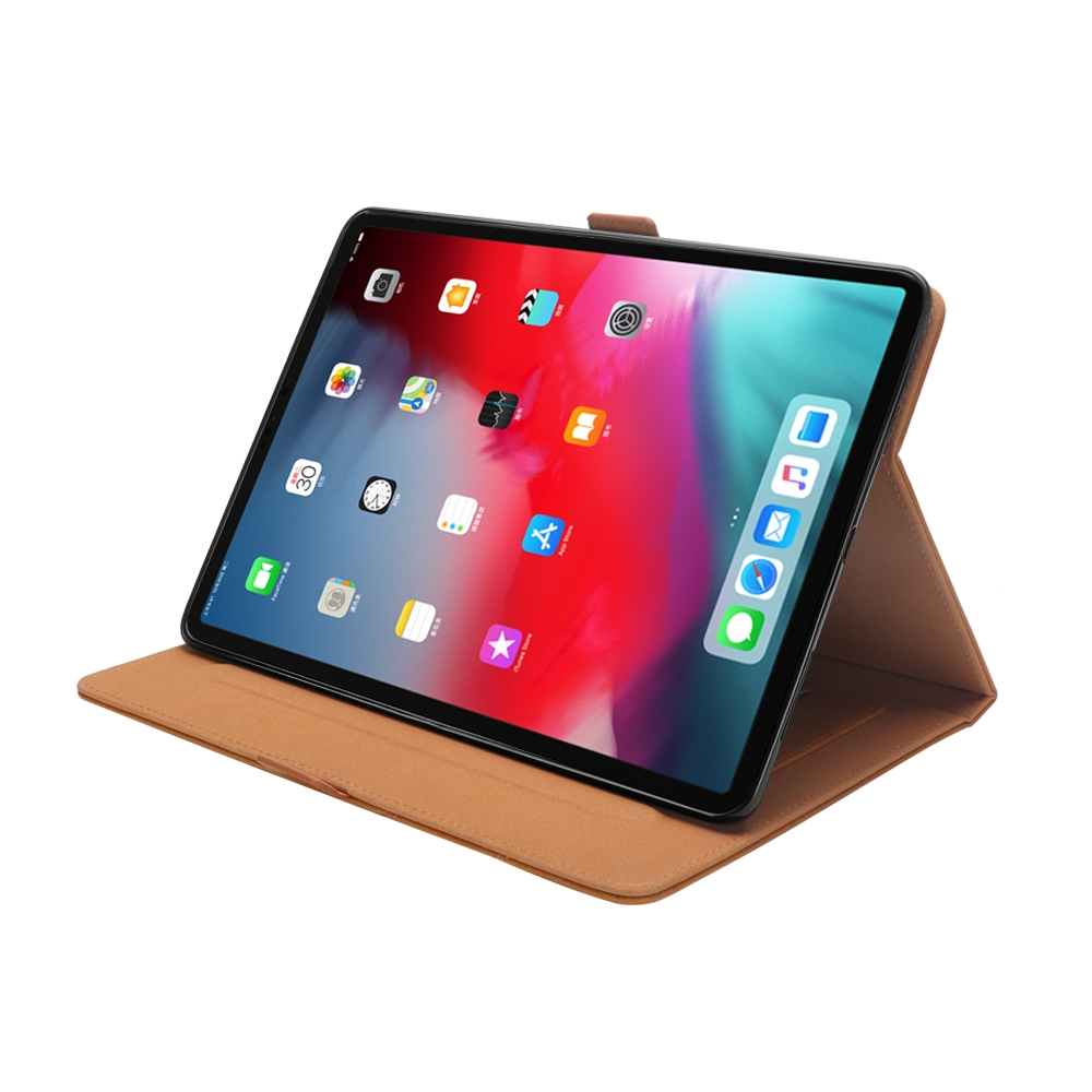 Bi-Stand Leather iPad Pro 11 Case (2018), w/Sleeves & Frame (Light Brown)
