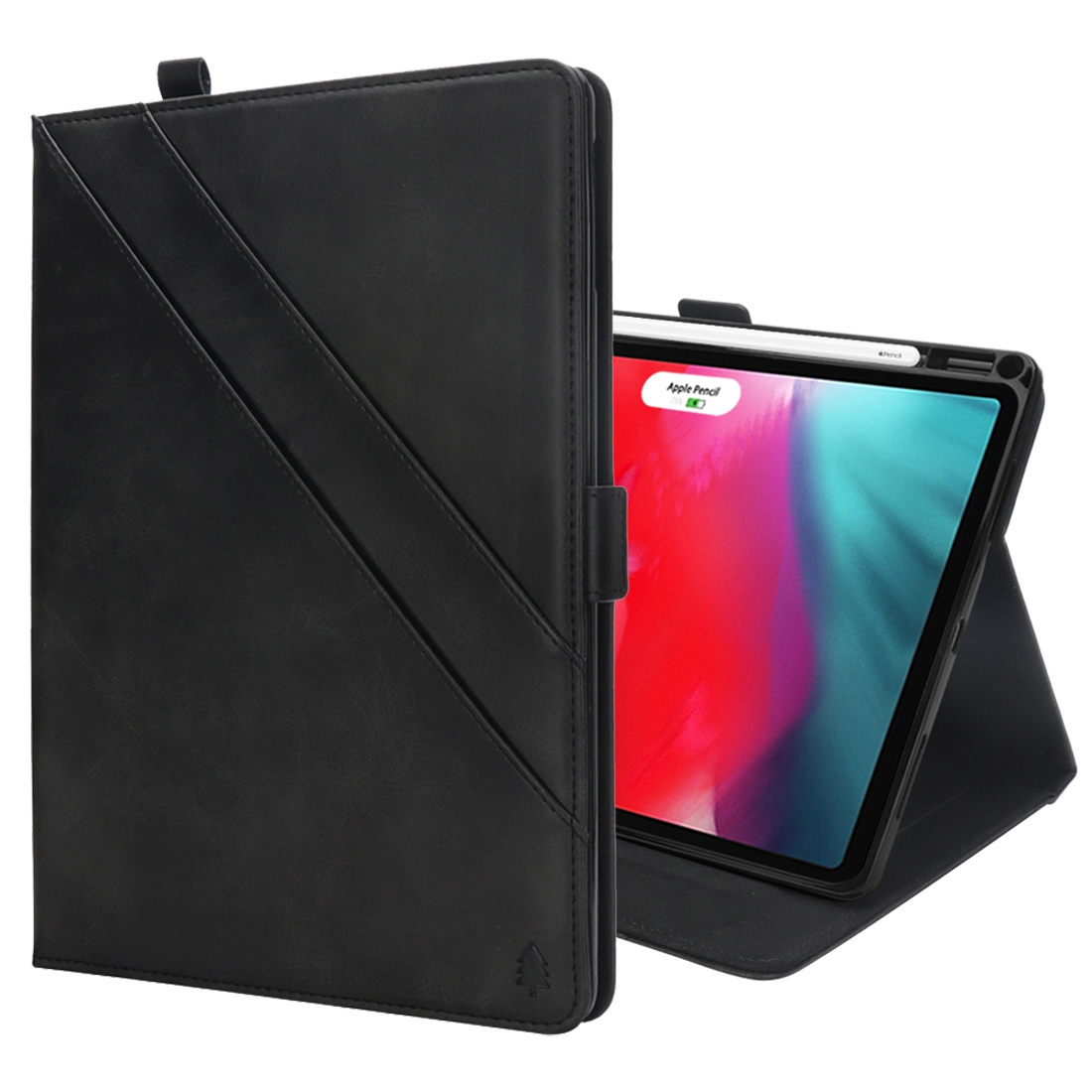 Bi-Stand Leather iPad Pro 11 Case (2018), w/Sleeves, Frame, Pen Holder (Black)