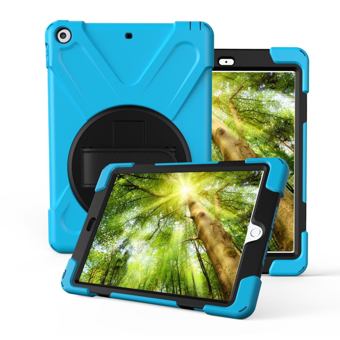 iPad 7th Generation Case (10.2 Inch) With A Protective Rotatable Design And Hand Strap (Light Blue)