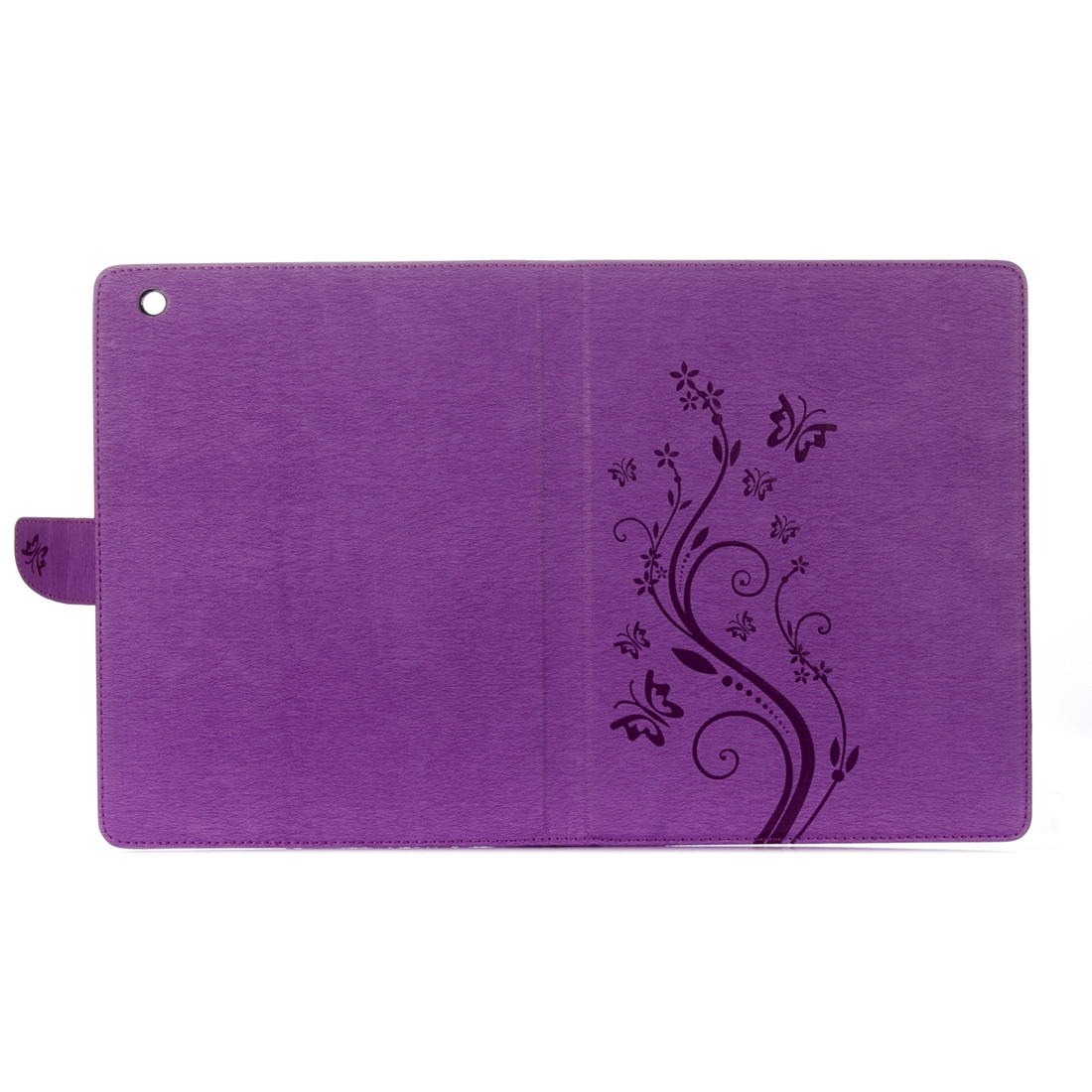 Leather iPad 4 Case, Floral Butterfly Design w/ Magnetic Buckle, Sleeves (Purple)