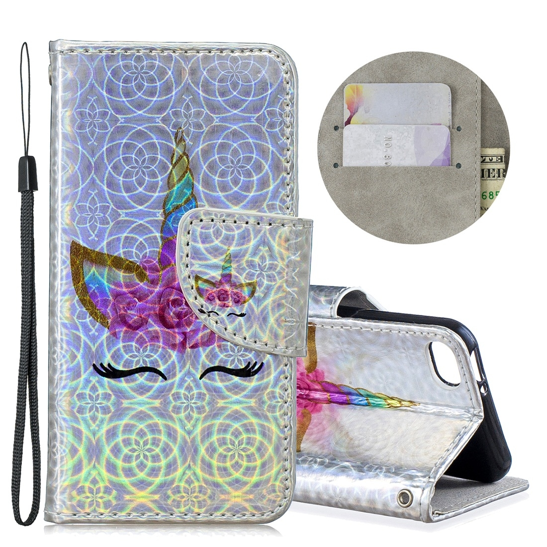 Dazzle Colorful Leather Case w/ Slim Profile & Lanyard For iPod Touch 5/6 (Eyelash Unicorn)