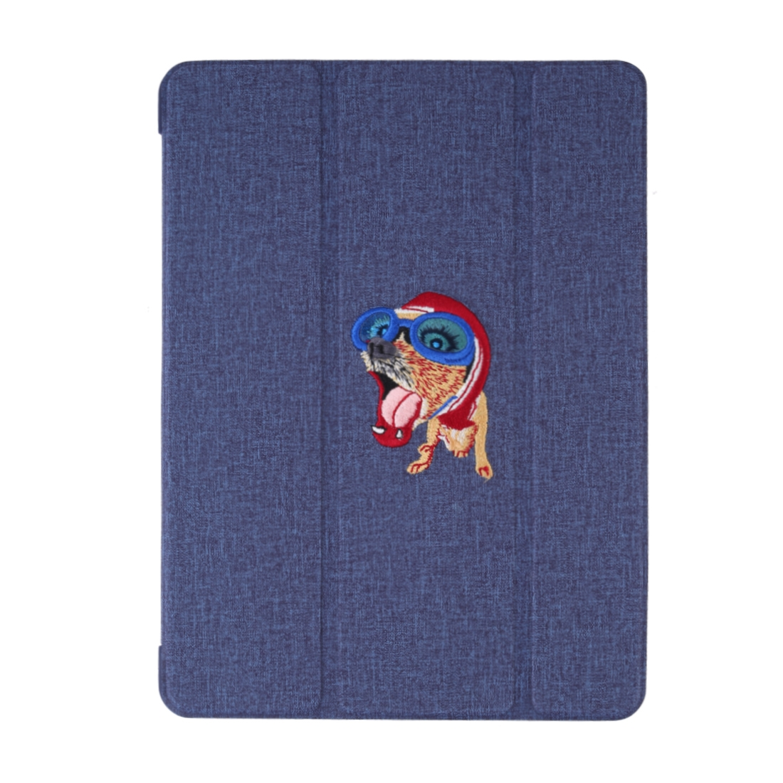Silk Textured Leather iPad Air 2 Case (2019)/ Pro 10.5 inch, w/Tri-Fold Auto Sleep (Blue)