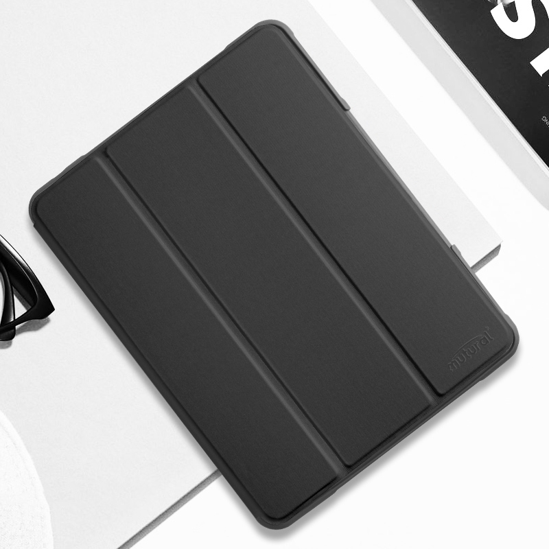 iPad Air 3 Case (10.5 Inch) Protective Durable Leather Case with Pen Holder (Black)