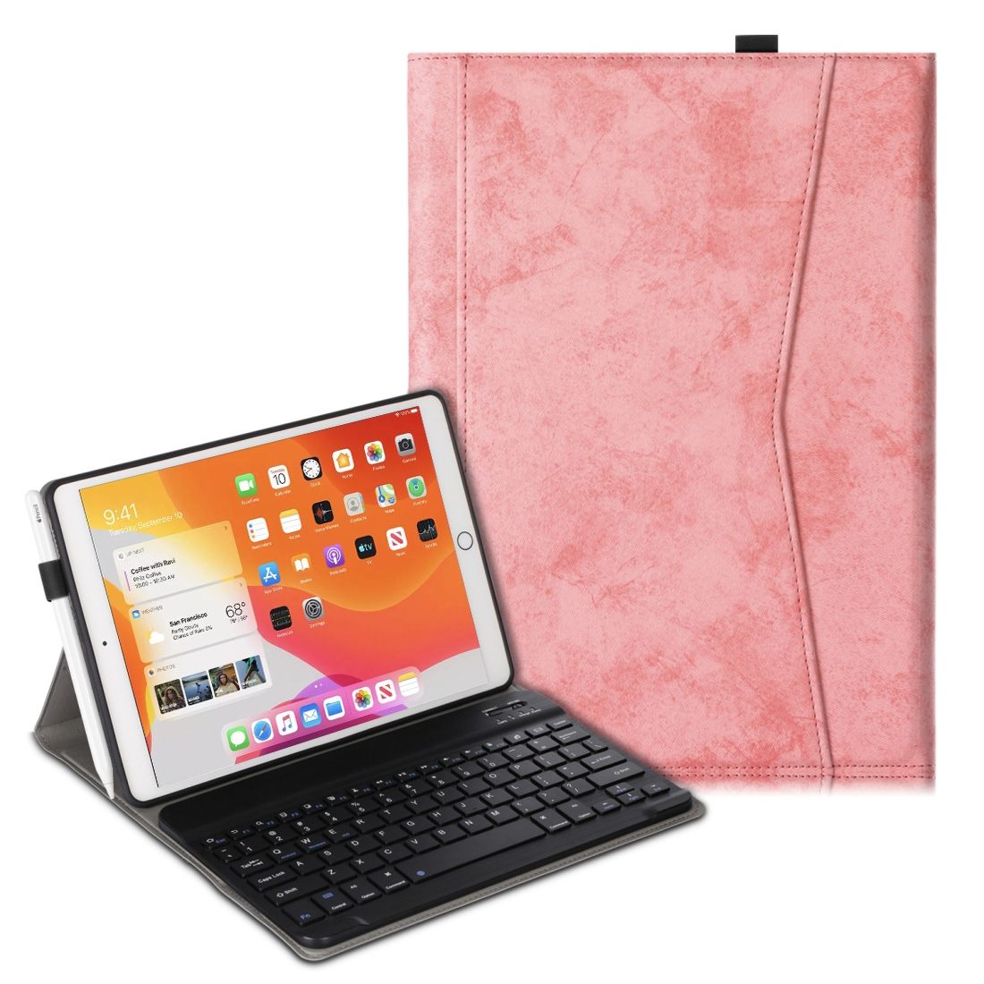 iPad Case With Keyboard & Bluetooth For iPad 10.2 Inch, Leather Case & Backlit Keyboard (Pink)